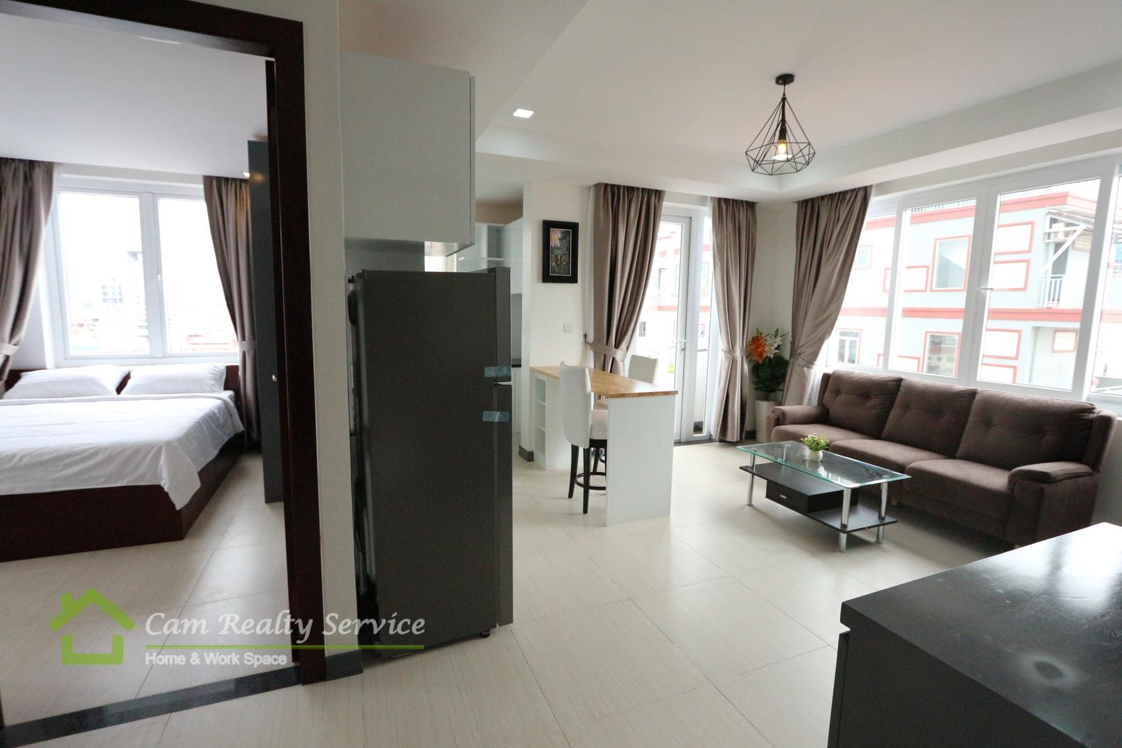 Russian market area| Modern style 1 bedroom serviced apartment for rent| 520$/month up| Phnom Penh