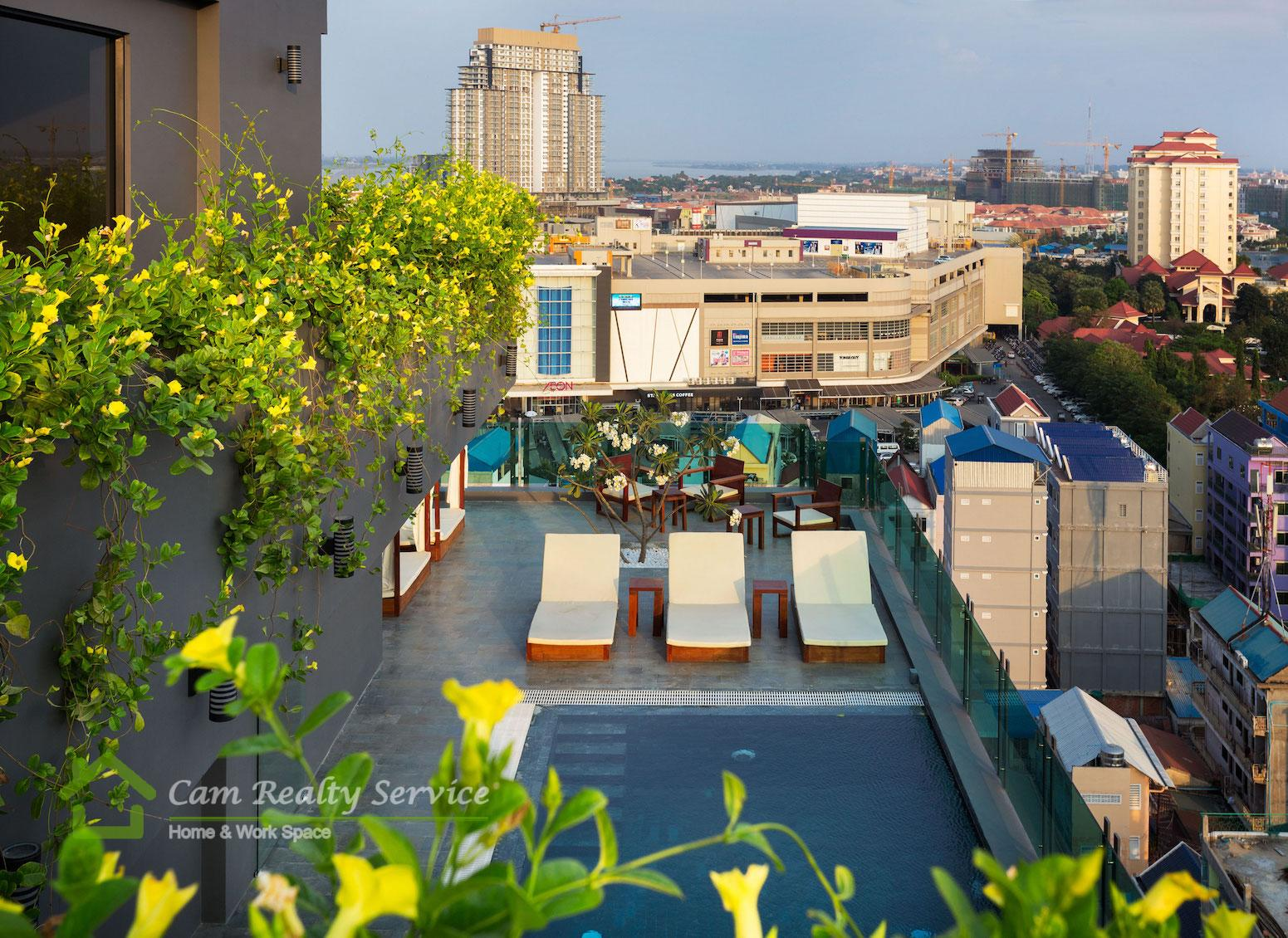 Modern and nice 2 bedrooms serviced apartment for rent near Aeon Mall Phnom Penh
