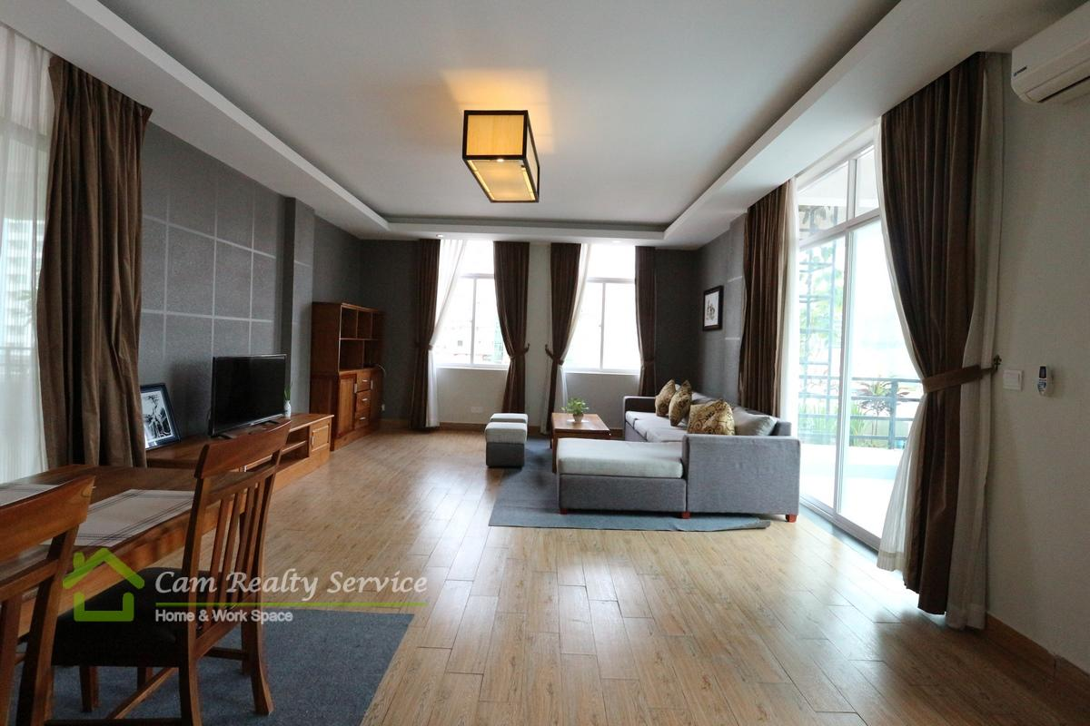 BKK1 area| Spacious 3 bedrooms serviced apartment with amazing balcony for rent| 1800$/month| Pool & Gym