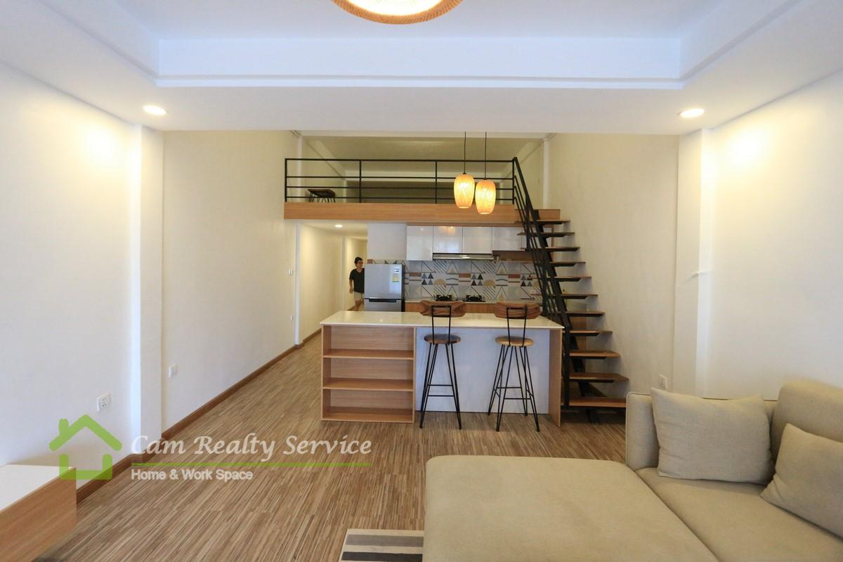 BKK1 area  Modern style renovated 1 bedroom duplex house for rent 500$/month