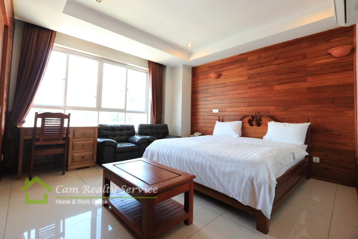 BKK3 area| Very nice wooden designed 1 bedroom serviced apartment for rent|500$/month up| Pool & gym