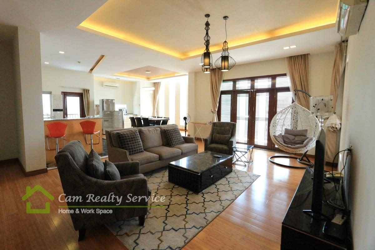 living area_penthouse serviced apartment for rent in BKK1