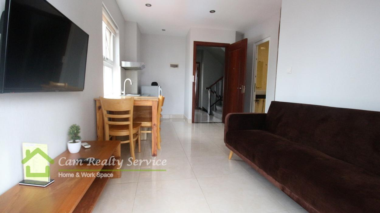 Wat Phnom Area Nice fully-furnished 1 bedroom serviced apartment for rent 400$ up/month car parking 