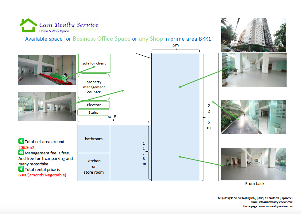 BKK1 Area Nice Business office space or Shopping mall space available for rent 6000$/month(Negotiable)