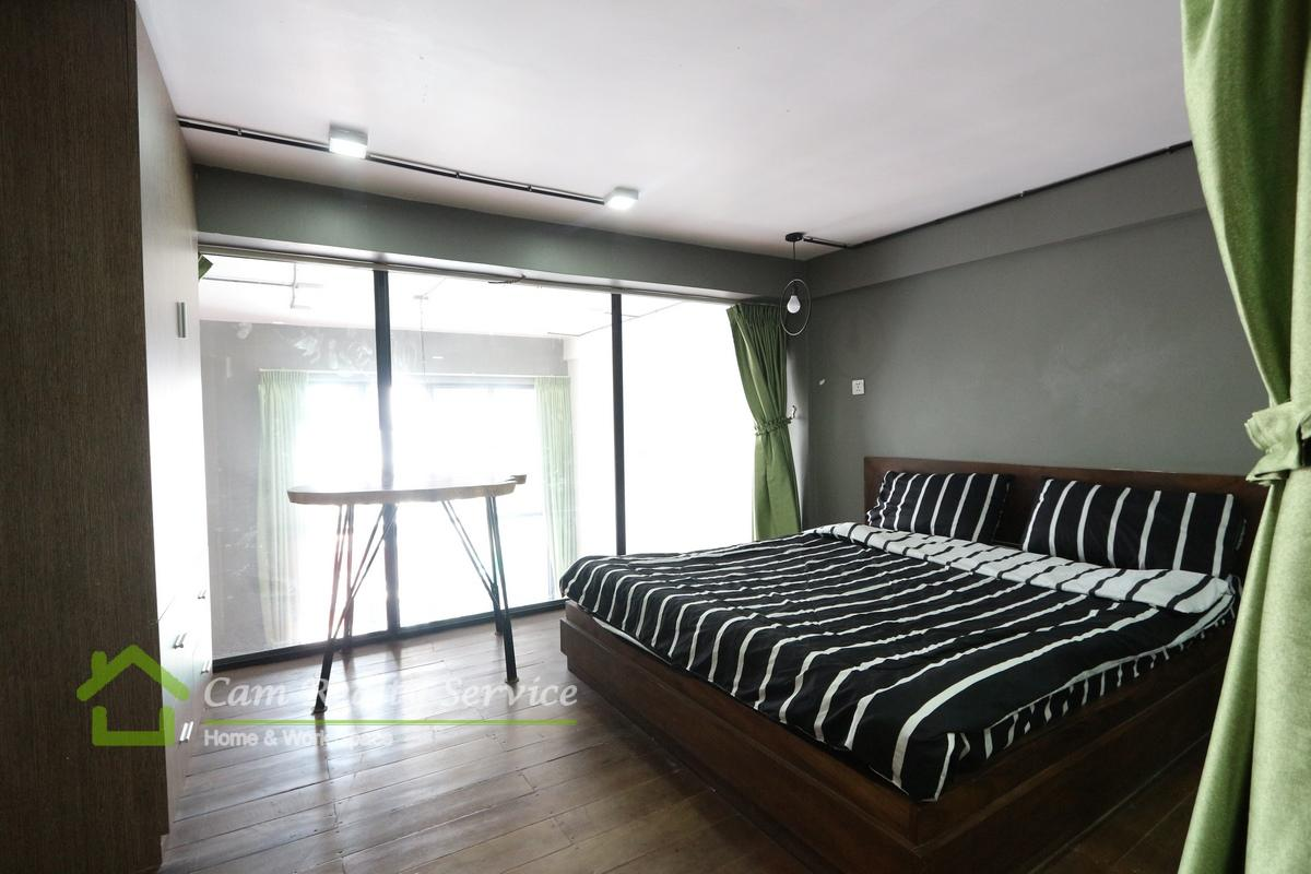 Daun Penh area| Loft style 2 bedrooms apartment available for rent 500$/month(no parking)