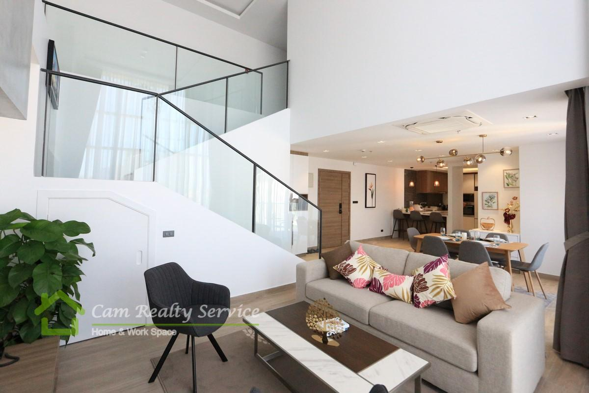 BKK1 area | Duplex style penthouse 4 bedrooms (Plus a study room) serviced apartment for rent in Phnom Penh | 4700$/month