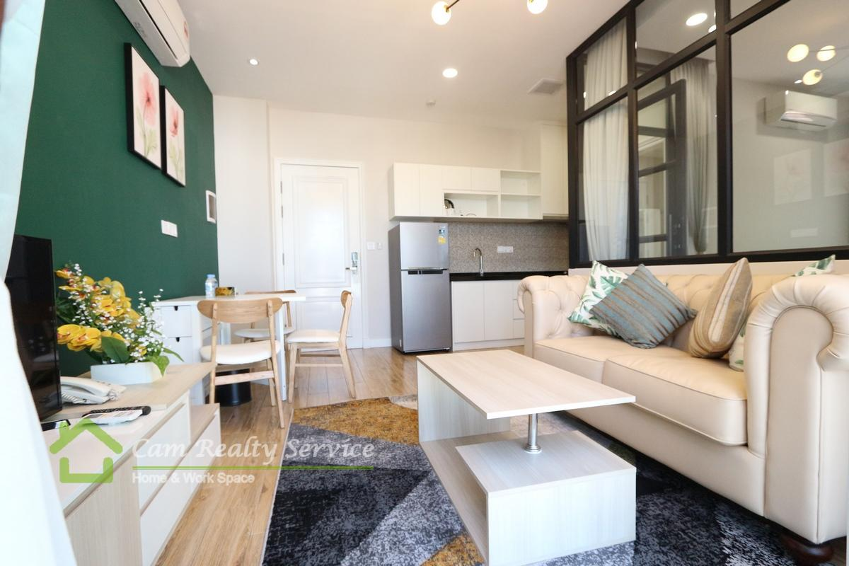 BKK1 Area| Western style 1 bedroom serviced apartment for rent 600$/month(Elevator & Motor parking)