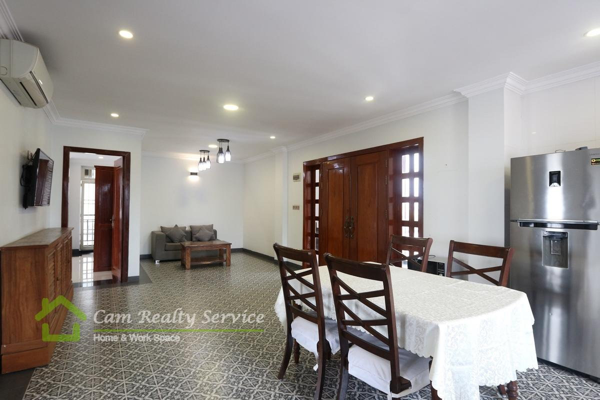 Tonle Bassac area| Spacious 3 bedrooms serviced apartment available for rent 1200$/month attached with Terrace